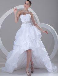Milanoo Robe de mariée blanche bretelles haute basse robe de mariée strass perles ruché Sweetheart décolleté robe de mariée - milanoo.com - Modalova