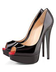 Escarpins 2021 vernis talon haut escarpins avec plateforme bout ouvert chaussures sexy - Milanoo FR - Modalova