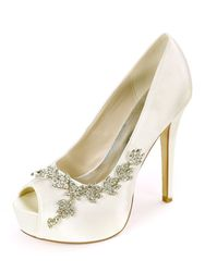 Milanoo Escarpins de mariée en satin plateforme bout ouvert talon haut Chaussures de mariage - milanoo.com - Modalova