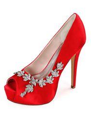 Milanoo Escarpins de mariée ivoire en satin plateforme bout ouvert talon haut Chaussures de mariage - milanoo.com - Modalova