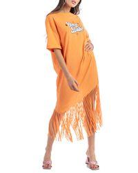 Deborah - maxi t-shirt in jersey con frangia e stampa - Shiki - Modalova