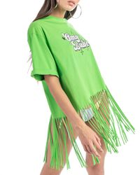 Bloom - t-shirt in jersey con frangia e stampa - Shiki - Modalova