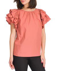 Sofia - blusa popeline con manica rouches - Shiki - Modalova
