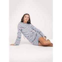 Knitted Wave Pattern Lace Up Back Mini Dress - Nasty Gal - Modalova