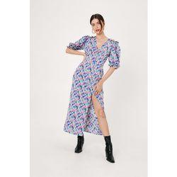 Floral Puff Sleeve Split Front Maxi Dress - Nasty Gal - Modalova