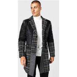 Manteau droit long à carreaux et empiècements - Boohooman - Modalova