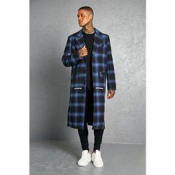 Manteau droit long à carreaux - MAN - Boohooman - Modalova