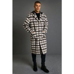 Manteau long à carreaux et capuche - Boohooman - Modalova