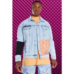 Veste en jean oversize patchwork - Boohooman - Modalova