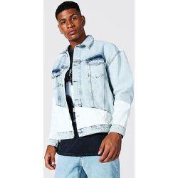 Veste en jean oversize bicolore - Boohooman - Modalova