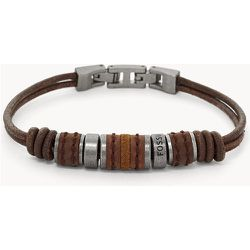Bracelet perlé en cuir  - Fossil - Modalova