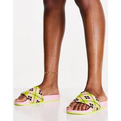 Adilette - Claquettes en tissu éponge à motif tartan - adidas Originals - Modalova
