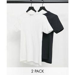 Lot de 2 t-shirts moulants - Noir et blanc - Another Influence - Modalova