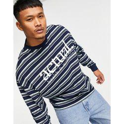 ASOS - Actual - T-shirt manches longues oversize à rayures et imprimé logo sur le devant - Bleu - ASOS Actual - Modalova