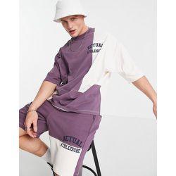 T-shirt oversize avec détails color block effet coupé cousu et logo imprimé (pièce d'ensemble) - ASOS Actual - Modalova