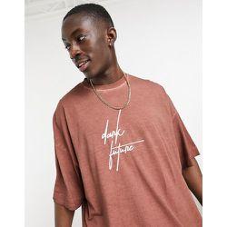 T-shirt oversize avec logo sur la poitrine - délavé huilé - ASOS Dark Future - Modalova