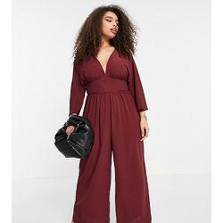 ASOS DESIGN Curve - Combinaison jupe-culotte à manches kimono - Bordeaux - ASOS Curve - Modalova