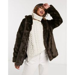 Manteau à col montant en fausse fourrure - Marron - ASOS DESIGN - Modalova