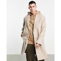 Manteau long décontractée en laine mélangée - Écru - ASOS DESIGN - Modalova