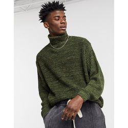 Pull oversize tricoté côtelé à col roulé - Kaki chiné - ASOS DESIGN - Modalova