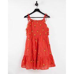 Robe courte froncée et texturée avec fleurs brodées - ASOS DESIGN - Modalova