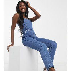 ASOS DESIGN Tall - Combinaison en jean ajustée à encolure carrée - Délavage moyen - ASOS Tall - Modalova