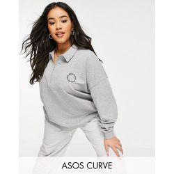 ASOS - Weekend Collective Curve - Sweat-shirt polo avec demi fermeture éclair et logo - chiné - ASOS Weekend Collective - Modalova