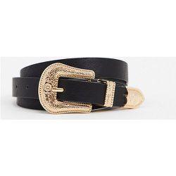 Exclusivité My Accessories London Curve - Ceinture taille et hanches pour jean avec boucle western dorée oversize - My Accessories Curve - Modalova
