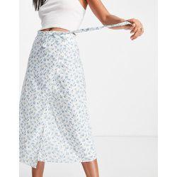 Jupe portefeuille mi-longue d'ensemble à imprimé floral rétro - Fashion Union - Modalova
