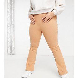 Pantalon évasé d'ensemble en maille à taille haute teint par sections - Fashion Union Plus - Modalova