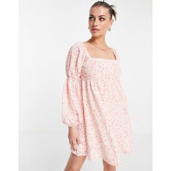 Robe babydoll volumineuse coupe courte à manches bouffantes - fleuri - Fashion Union - Modalova