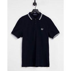 Polo avec logo et bordures à double rayure - Bleu /blanc - Fred Perry - Modalova