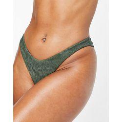 Mix and Match - Bas de bikini échancré effet froissé - Kaki - Free Society - Modalova