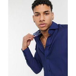 Chemise coupe slim avec manchettes imprimées - Bleu - Gianni Feraud - Modalova