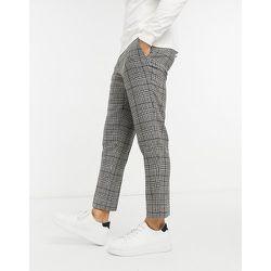 Pantalon de costume court coupe skinny - Carreaux marron - Gianni Feraud - Modalova