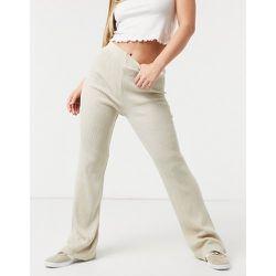 Pantalon large en maille - Crème - Girl In Mind - Modalova