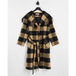Manteau à franges style couverture en laine mélangée croisé sur le devant - Carreaux marron - Helene Berman - Modalova