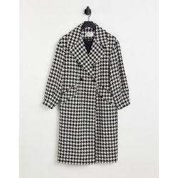 Manteau oversize en laine mélangée à motif pied-de-poule - Noir - Helene Berman - Modalova