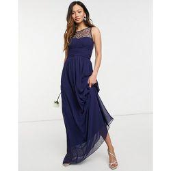 Robe longue de demoiselle d'honneur en mousseline ornée de perles - Bleu - Little Mistress - Modalova