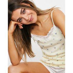 Caraco confort en maille pointelle à bordure en dentelle - Imprimé petites fleurs - Loungeable - Modalova