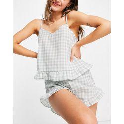 Ensemble de pyjama caraco et short à volants et carreaux vichy - Sauge - Loungeable - Modalova