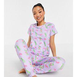 Petite - Ensemble de pyjama avec t-shirt et legging à imprimé crocodiles - Lilas - Loungeable - Modalova