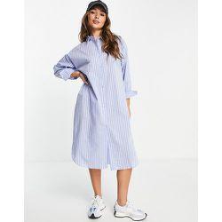 Robe chemise mi-longue boutonnée sur le devant - Rayures - Mango - Modalova