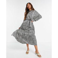 Robe longue avec encolure à fente goutte d'eau et motif à pois - Mango - Modalova