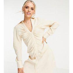 Robe chemise courte froncée devant - Crème - Missguided Petite - Modalova
