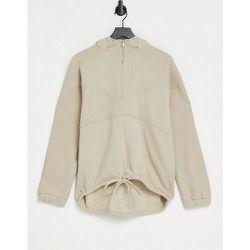 Sweat-shirt confort oversize à fermeture éclair devant - Beige - Pieces - Modalova
