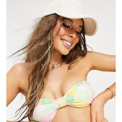 Inspired - Haut de bikini bandeau noué sur le devant à imprimé floral en tissu recyclé - Reclaimed Vintage - Modalova