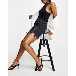 Short en jean long style années 90 à taille mi-haute et effet usé - Noir délavé - Replay - Modalova