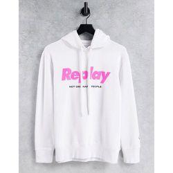 Sweat-shirt à capuche avec logo fluo sur le devant - Replay - Modalova