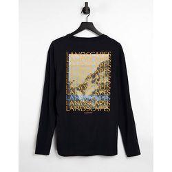 T-shirt ample en coton biologique à manches longues avec imprimé paysage au dos - Selected Homme - Modalova